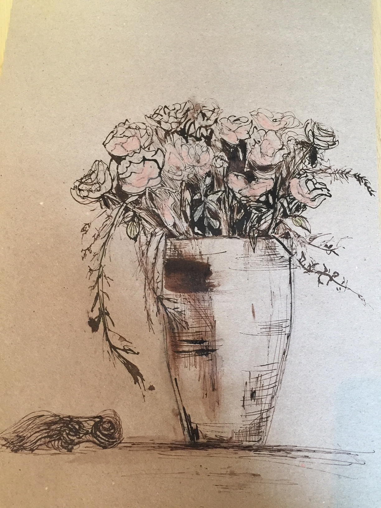 roses with ink