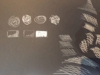 tonal values with line on black paper
